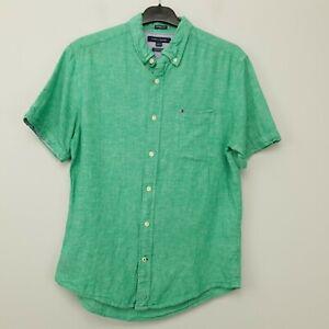 Tommy Hilfiger Mens Shirt LINEN Blend MEDIUM Green Custom Fit Cotton Linen