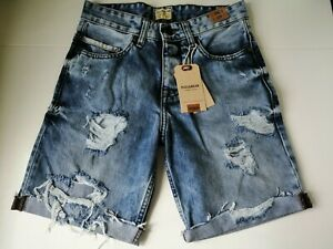 Pull and Bear Mens Blue Ripped Denim/Jean Shorts - Size 29 (W28.1in) (NEW!)