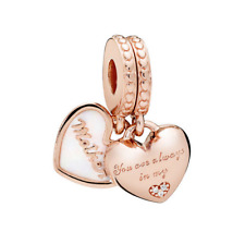 S925 Silver Charm 14K Rose Gold PL Mother Daughter Hearts by Pandora's Angels