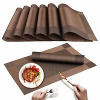 """Placemats Heat-Resistant PVC Table Mats Woven Vinyl Placemats, Set of 6, 18""""x12"""""""