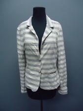 FEMME FATALE Gray Cream Striped Long Sleeves Blazer Sample NWT Sz S EE9069