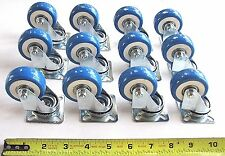 "12 PC SET OF BLUE 2"" POLY / POLYURETHANE SWIVEL CASTERS / WHEELS FOR CART DOLLY"