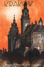 Vintage Illustrated Travel Poster CANVAS PRINT Krakow Poland A3