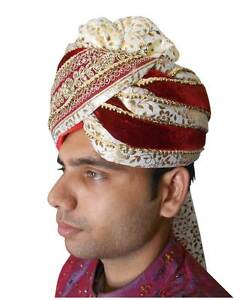Men Hat Groom Pag Indian Traditional Handmade Pagri Safa Wedding Turban 23.6""