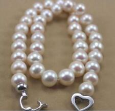 "9-10MM NATURAL WHITE SOUTH SEA PEARL NECKLACE 18"" 925 silver clasp"