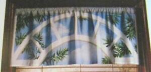 SEASHORE Cafe Curtain VALANCE 48 W x 19 L Window Art Mural Ocean Scene NEW