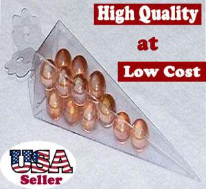 """50 PCS 1-1/2x1-1/2x6"""" Clear Plastic Cone Shape Wedding Favor Boxes Clear PVC"""