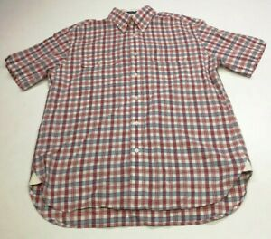 Tommy Hilfiger Mens Check Button Shirt, Size M, Red Mix, Cotton/Linen Blend, GC