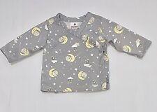 Hanna Andersson Organic Moon Stars Clouds Grey Kimono Wrap Top, 50 (US 0-3 mo)