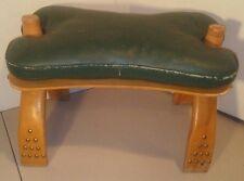 Vintage Camel Saddle Foot Stool Egypt Mid-Century Modern Retro Wooden w/ Cushion