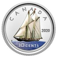 🇨🇦 Now colored dime! Canada 10 cents coin, Silver Proof, UNC, 2020