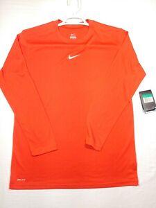 Nike Dri Fit Long Sleeve Shirt Orange Size Youth XL Mens M Center Swoosh Wicking