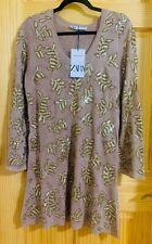 Zara Limited Edition Golden Sequin Brown Beige Sweater Mini Dress size S NWT