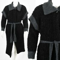 80s Vintage Oversized Duster Sweater Mohair Fuzzy Chunky Knit Wool Size M