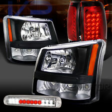 03-06 Silverado Black Headlights+Red LED Tail Lamps+Clear LED 3rd Brake