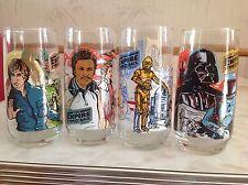 "1980 STAR WARS BURGER KING Coca-Cola 6"" GLASSES FULL SET of 4 NM"