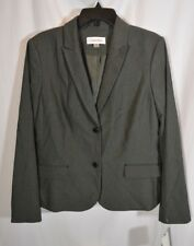 New Calvin Klein Charcoal Pinstriped Women's Size 16 Two-Button Lined Blazer