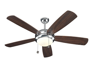 "Monte Carlo 5DI52PND - 52""Polished Nickel/Walnut Blades Ceiling Fan w/ Light"