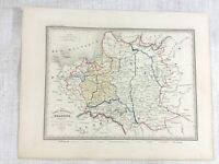 1846 Antique Map of Poland Lithuania Prussia Rare Hand Coloured Engraving