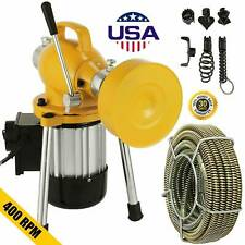Sectional Pipe Drain Auger Cleaner Machine Snake Sewer Clog w/ Cutter 3/4
