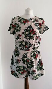 Floral Cream Playsuit By Colleen Uk12, Champagne, Pockets, Silky
