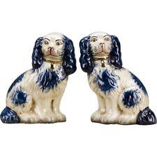 Staffordshire Reproduction King Charles Spaniel Blue Dog Pair Figurines
