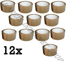 12 ROLLS OF BROWN BUFF PARCEL PACKING TAPE OF 48mm x 66M STRONG PACKING ADHESIVE