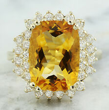 8.80 Carat  Genuine Citrine 14K Solid Yellow Gold Diamond Ring