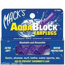 Macks (Mack's) Aqua Block Earplugs - Purple (2 pair)