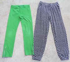 Girls 10/12 Long Pants Legging Lot Old Navy Black/White Print~Tcp Green Leggings
