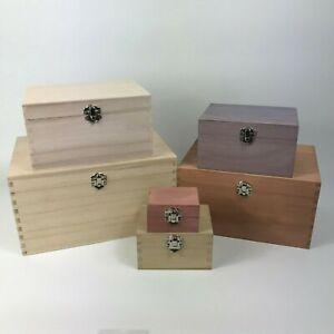 Small Personalised Wooden Keepsake Large Engraved Square Wood Boxes Trinket Box