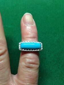 W/G 18CT Turquoise & Diamond Ring D 0.20CTS Size N RRP £1670