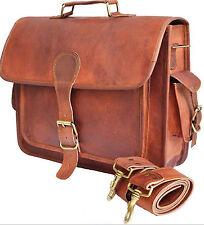 """New 16"""" Big Men's genuine vintage leather brown messenger shoulder  laptop bag ."""
