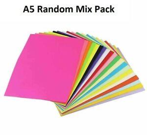 A5 Random Mix Coloured Paper Pack 80gsm 160gsm Card Art Craft Bright Pastel Mix