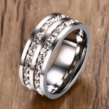 Stainless Steel 8mm 3.4 Carat CZ Princess Cut CZ Band Ring Size 6-9