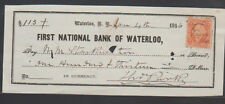 First National Bank of Waterloo NY  Used Check January 1866 w Revenue Stamp