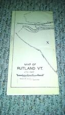Jan 1 1927 Map Of Rutland Vermont R.H. Royce Authentic Collectible History Vt.