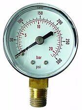 """Manómetro 50mm 1/8"""" BSP entrada inferior 0-60 Psi 4 Bar De Aire Y Aceite Seco * GB 504 *"""