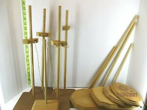 Lot of 9 tall wood doll stands assembled some need to be put together Item #3