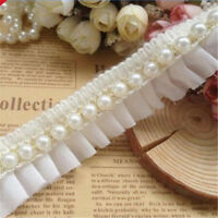 1 Yd Pearl Beaded Lace Edge Trim Wedding Dress Ribbon Sewing DIY Craft 2 Colors
