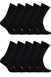 Men Black Calf Suits Cotton Plain Breathable Socks 10 Packs Aurellie 5.5-11