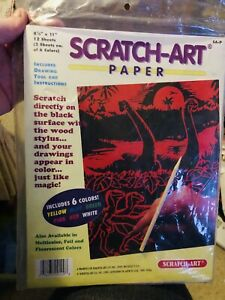 "New Scratch Art Paper 12 Sheets 8.5"" X 11"" - 6 Colors - 2 Each - Black Surface"