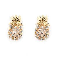 1 Pair Hollow Pineapple Earrings Crystal Imitation Diamond Earrings Gift G