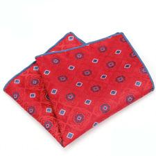 100% Silk Red Blue Dots Handkerchief Pocket Square Hankie Hanky Wedding