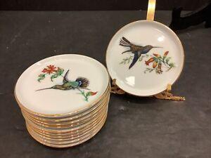 "Furstenberg German set 11 Porcelain Bird design Bread Coaster 4"" plates"