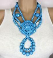 DESIGNER Signed Blue Resin Bead HUGE Statement Necklace!
