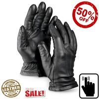 Real Leather Thermal Lined Party Evening Driving Mens Ladies Winter Gloves Mitts