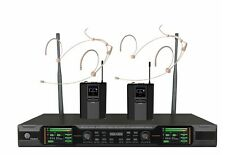 UHF Diversity Dual Wireless Headset Microphone System Stage Singers Microphone