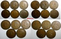 Great Britain George V BRONZE LOT OF 11 COINS 1926-1936 1 Penny KM# 838 KM# 826