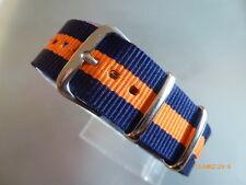 Uhrenarmband Nylon 20 mm blau orange   NATOBAND Dornschließe Textil